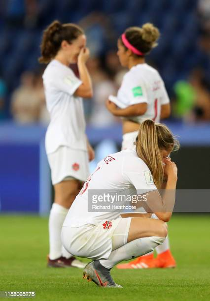 Janine Beckie of Canada looks dejected after the 2019 FIFA Women's World Cup France Round Of 16 match between Sweden and Canada at Parc des Princes...