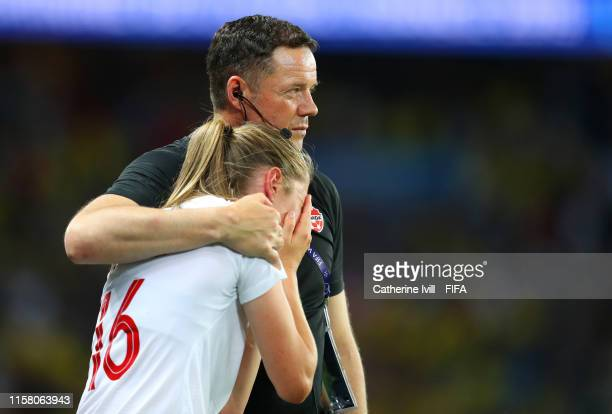 Janine Beckie of Canada looks dejected following her sides defeat in the 2019 FIFA Women's World Cup France Round Of 16 match between Sweden and...