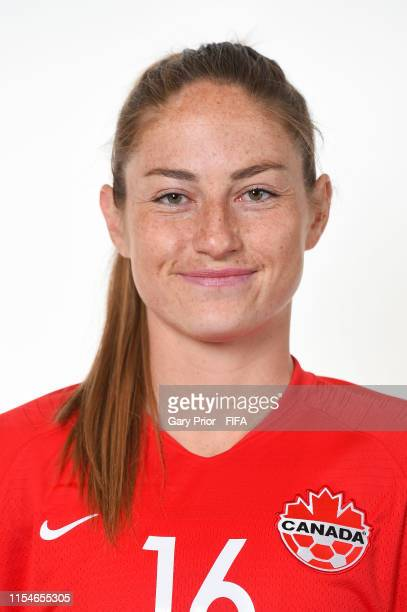 Janine Beckie of Canada poses for a portrait during the official FIFA Women's World Cup 2019 portrait session at Courtyard by Marriott Montpellier on...