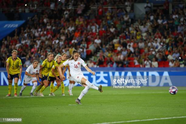 Janine Beckie of Canada takes a penalty which is then saved by Hedvig Lindahl of Sweden during the 2019 FIFA Women's World Cup France Round Of 16...