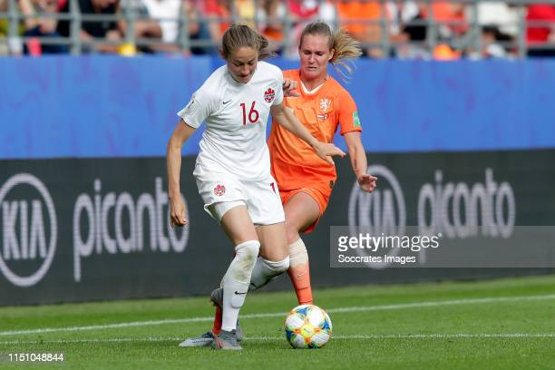 Janine Beckie of Canada Women, Desiree van Lunteren of Holland Women during the World Cup Women match between Holland v Canada at the Stade...