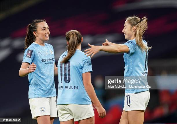 Janine Beckie of Manchester City celebrates after scoring her teams third goal during the Vitality Women's FA Cup Final match between Everton Women...