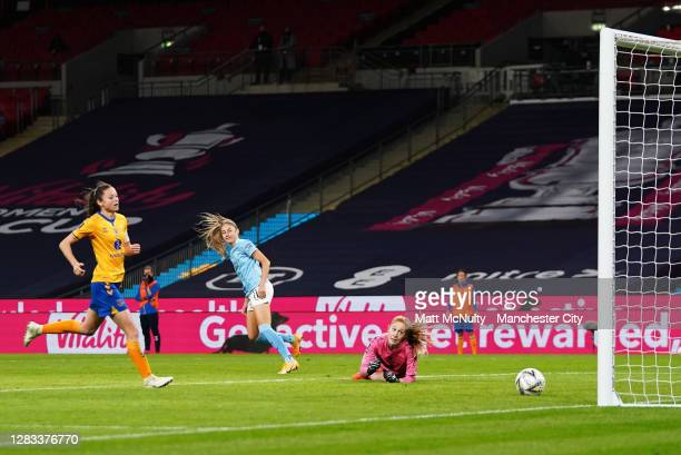Janine Beckie of Manchester City scores her teams third goal during the Vitality Women's FA Cup Final match between Everton Women and Manchester City...