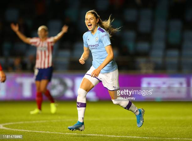 Janine Beckie of Manchester City Women celebrates after scoring the opening goal during the UEFA Women's Champions League Round of 16 First Leg match...