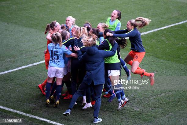 Janine Beckie of Manchester City Women celebrates with teammates after scoring the winning penalty during the FA Women's Continental League Cup Final...