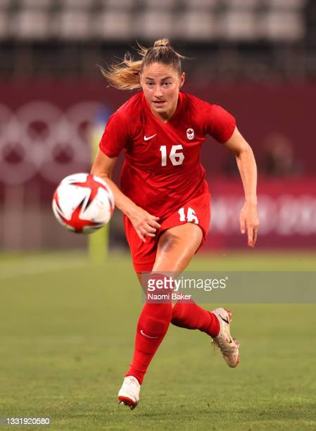 Janine Beckie of Team Canada chases down the ball during the Women's Semi-Final match between USA and Canada on day ten of the Tokyo Olympic Games at...
