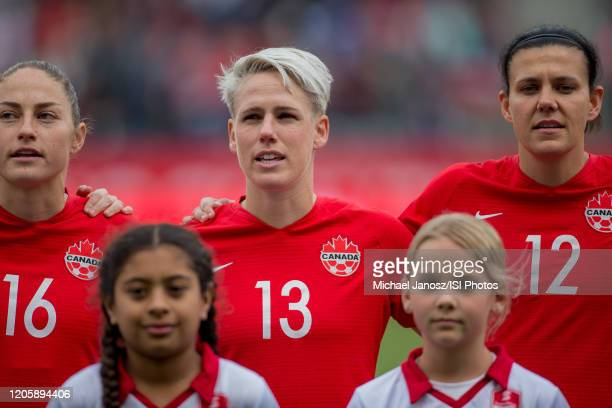 Janine Beckie Sophie Schmidt and Christine Sinclair of Canada look on during a game between Canada and United States at Dignity Health Sports Park on...