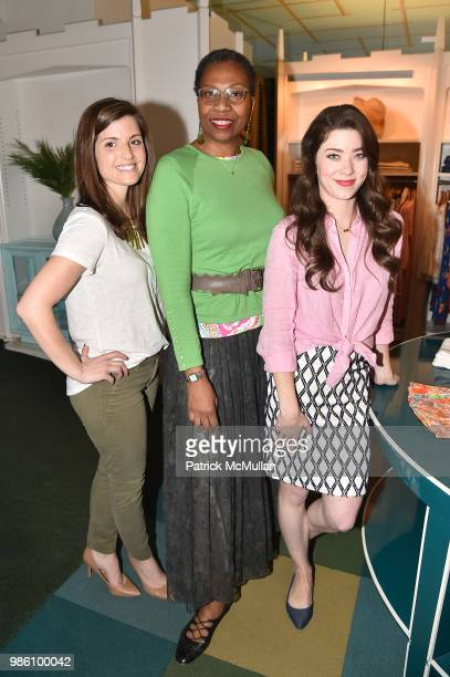 Janine Cinque Roseanne Lind and Sarah Grace attend JMcLaughlin Shopping Event to benefit Save the Children at JMcLaughlin on April 5 2018 in New York...