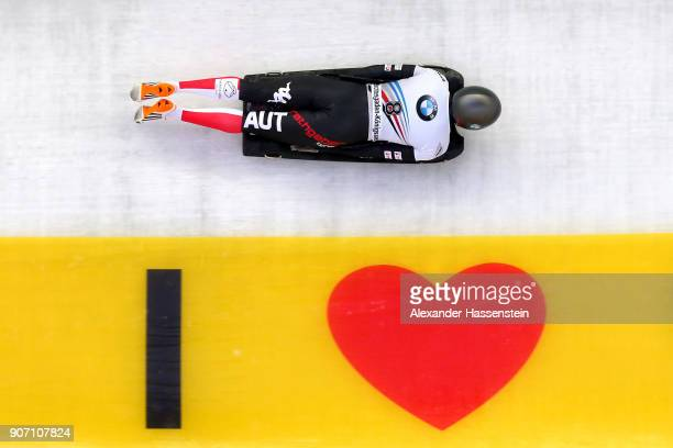 Janine Flock of Austria competes at Deutsche Post Eisarena Koenigssee during the BMW IBSF World Cup Skeleton on January 19 2018 in Koenigssee Germany