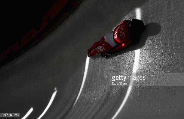 Janine Flock of Austria slides down the track during women skeleton training at Olympic Sliding Centre on February 12, 2018 in Pyeongchang-gun, South...