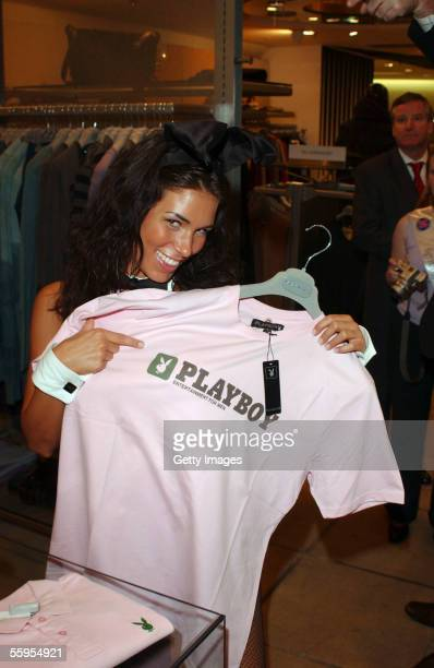 Janine Habeck playmate of the year 2002 attends the Playboy Exposed private view at Harvey Nichols on October 18 2005 in London England In...