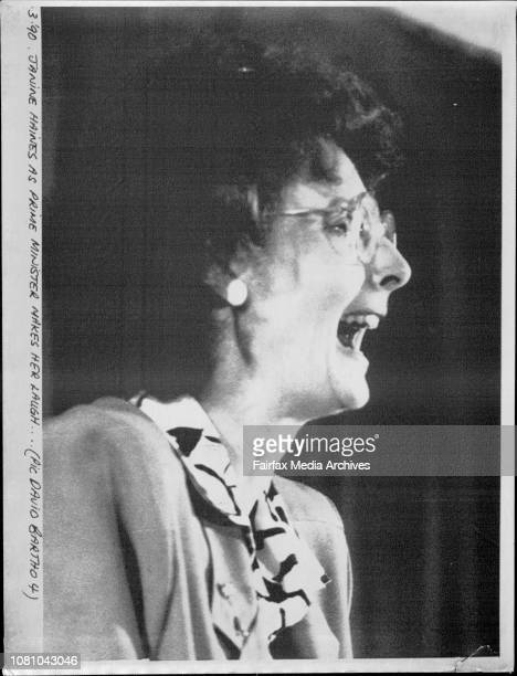 Janine Haines as Prime Minister makes her laugh March 16 1990