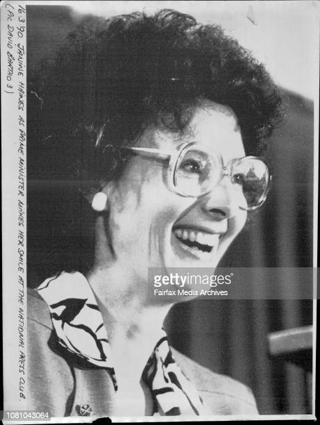 Janine Haines as Prime Minister makes her smile at the national press club March 16 1990