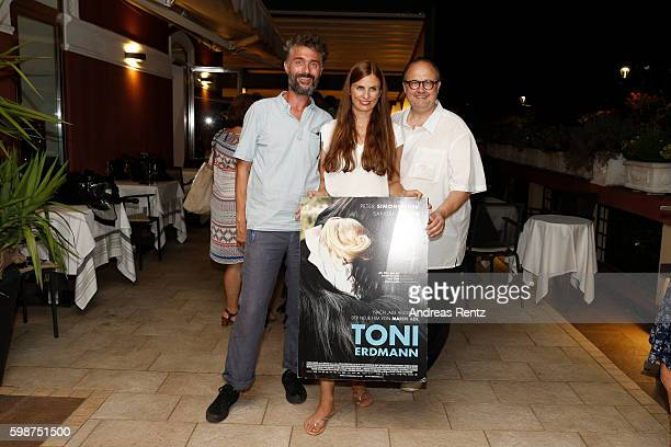 Janine Jackowski , Christoph Ott and guest attend the NRW reception during the 73rd Venice Film Festival at on September 2, 2016 in Venice, Italy.