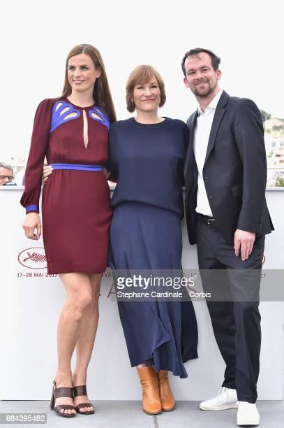 "Janine Jackowski, director Valeska Grisebach and Jonas Dornbach attend ""Western"" Photocall during the 70th annual Cannes Film Festival at Palais des..."