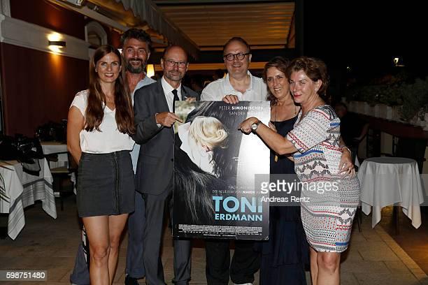 Janine Jackowski, guest, Franz-Joseph Lersch-Mense, Christoph Ott, Petra Mueller and Kirsten Niehuus attend the NRW reception during the 73rd Venice...