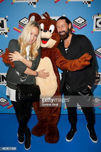 Janine Kunze and Dirk Budach attend the Family Friends Fun Day by kids TV channels Cartoon Network and Boomerang at Postgaragen on February 1 2015 in...