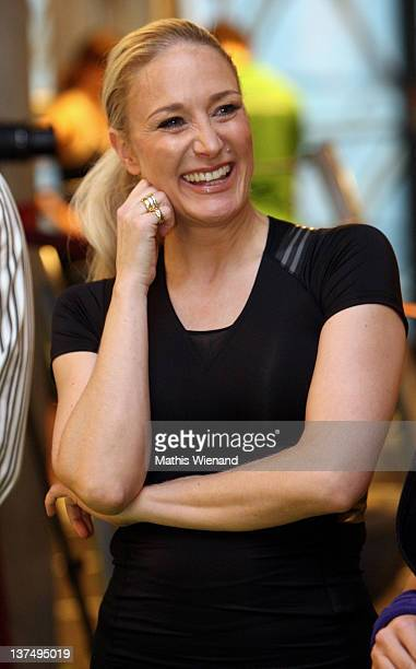 Janine Kunze attends the Opening at Fitness First Platinum Club MyZeil on January 21 2012 in Frankfurt Germany