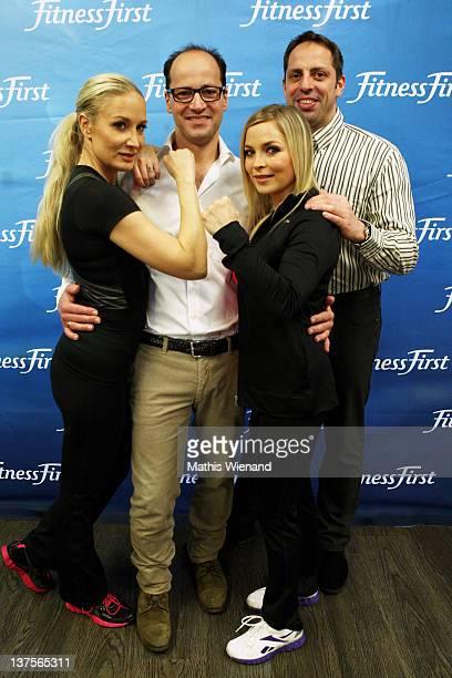 Janine Kunze Stefan Tilk Regina Halmisch and Mark Warnecke pose during the Opening at Fitness First Platinum Club MyZeil on January 21 2012 in...