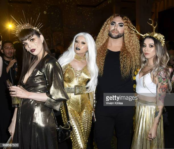 Janine Kurdi, Crystal Sanchez, Ariel Diaz and Martha Sanchez attend Kat Von D Beauty 10th Anniversary Party at Vibiana Cathedral on May 10, 2018 in...