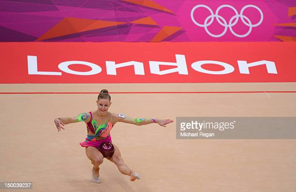 Janine Murray of Australia competes in the Individual All-Around Gymnastics Rhythmic on Day 13 of the London 2012 Olympics Games at Wembley Arena on...