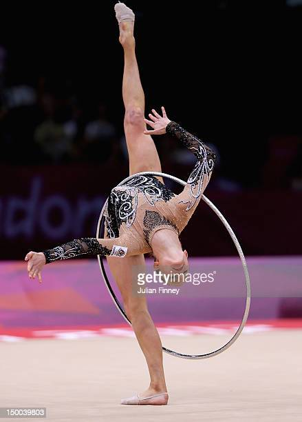 Janine Murray of Australia performs with the hoop during the Rhythmic Gymnastics qualification on Day 13 of the London 2012 Olympics Games at Wembley...