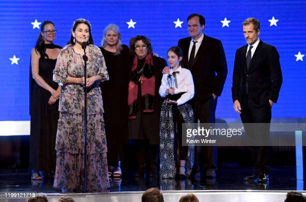 Janine Rath Thompson Shannon McIntosh Heba Thorisdottir Barbara Ling Julia Butters Quentin Tarantino and David Heyman accept Best Picture for 'Once...