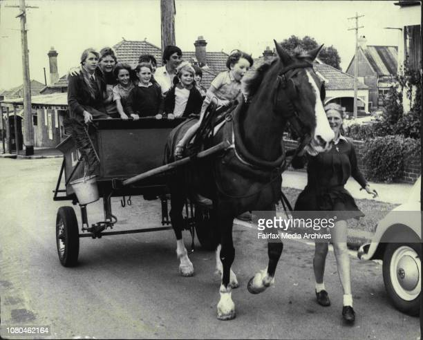 Janine Roche 14 of Leichhardt taking some of the local children for their last ride in the Leichhardt Council cart behind Socks an 18 year old Draft...