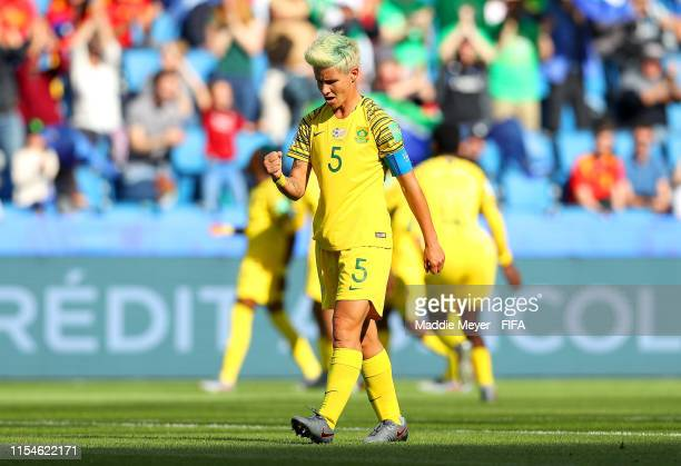 Janine Van Wyk of South Africa celebrates after Thembi Kgatlana scores her side's first goal during the 2019 FIFA Women's World Cup France group B...