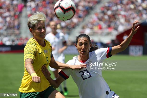 Janine Van Wyk of South Africa, Christen Press of the United States during an international friendly match between the womens national teams of the...