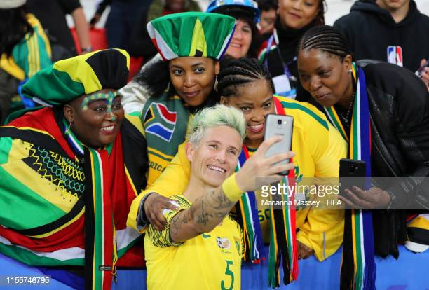 Janine Van Wyk of South Africa poses for a selfie with fans after the 2019 FIFA Women's World Cup France group B match between South Africa and China...