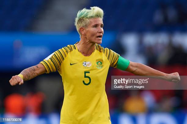 Janine Van Wyk of South Africa reacts during the 2019 FIFA Women's World Cup France group B match between South Africa and China PR at Parc des...