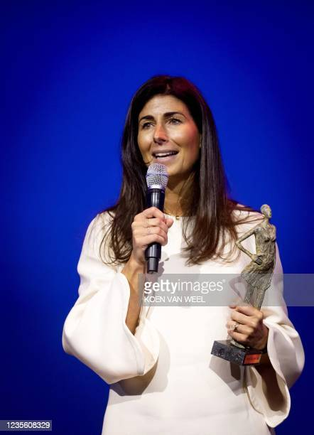 Janine Vos, Member of the Managing Board of Rabobank, delivers a speech after she won the award of the Top Woman of the Year 2021 in Theater...