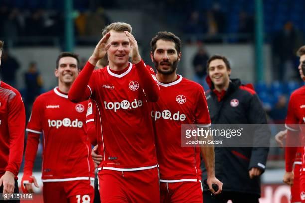 JanIngwer CallsenBracker and Halil Altintop of Kaiserslautern celebrate after the Second Bundesliga match between Eintracht Braunschweig and 1 FC...