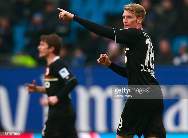 Jan-Ingwer Callsen-Bracker of Augsburg gestures during the Bundesliga match between Hamburger SV and FC Augsburg at Imtech Arena on March 16, 2013 in...
