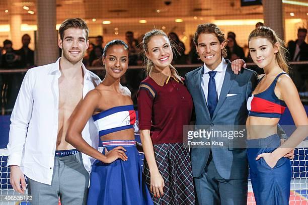Janis Danner Sara Nuru Alena Gerber Rafael Nadal and Stefanie Giesinger attend the Tommy Hilfiger X Rafael Nadal @ Breuninger on November 10 2015 in...
