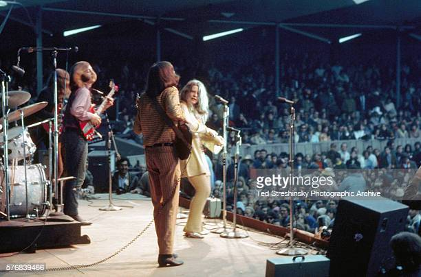 Janis Joplin performs with her band 'Big Brother the Holding Company' during the International Pop Festival in Monterey California in 1967