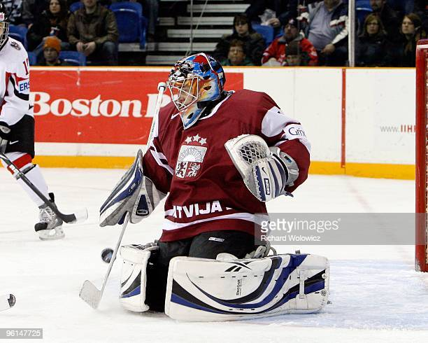 Janis Kalnins of Team Latvia stops the puck during the 2010 IIHF World Junior Championship Tournament Relegation game against Team Austria on January...