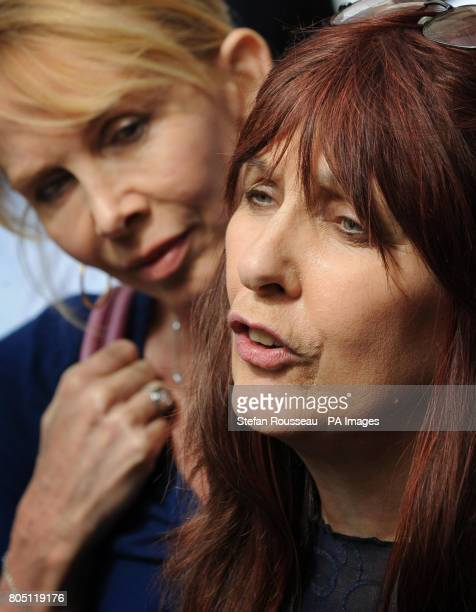Janis Sharp mother of British computer expert Gary McKinnon makes a statement to the media watched by Trudie Styler Mr McKinnon lost his latest High...