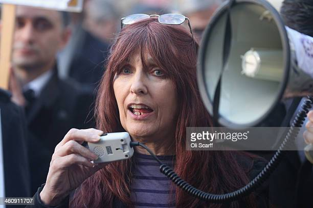 Janis Sharp the mother of computer hacker Gary McKinnon addresses a demonstration outside Westminster Magistrates Court against the Government's...