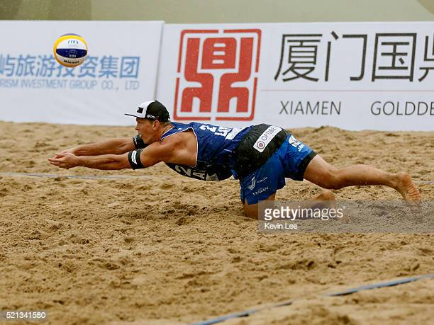 Janis Smedins of Latvia in action at the FIVB Beach Volleyball World Tour Xiamen 2016 on April 15 2016 in Xiamen China