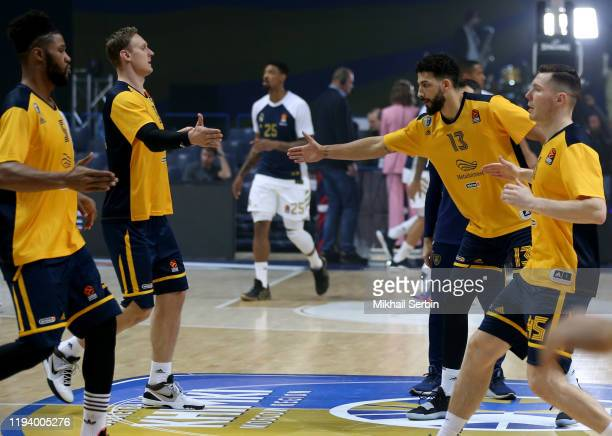 Janis Timma #6 and Anthony Gill #13 of Khimki Moscow Region before the 2019/2020 Turkish Airlines EuroLeague Regular Season Round 20 match between...