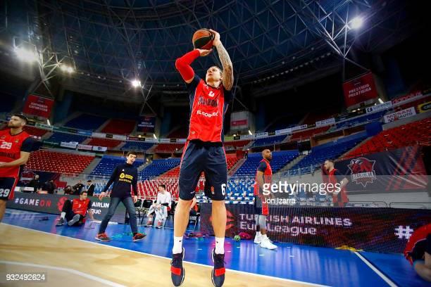 Janis Timma #6 of Baskonia Vitoria Gasteiz warm up during the 2017/2018 Turkish Airlines EuroLeague Regular Season Round 26 game between Baskonia...