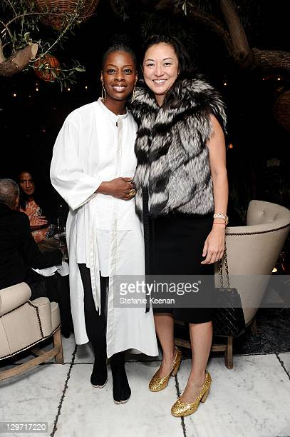 Janisa Washington and Christine Y Kim attend Roland Augustine Shaun Caley Regen Thomas Dane Lawerence Luhring Host Dinner Celebrating The Opening Of...