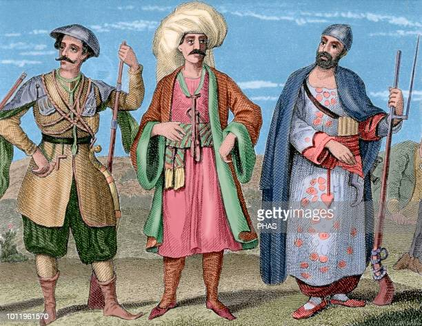 Janissaries Elite infantry units that formed the Ottoman Sultan's household troops and bodyguards Engraving 19th century Colored