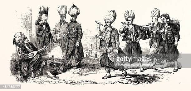Janissary Guard Paymaster Room Leader Nco Guard Chief Scullion Officers Cooks Marmite The Janissaries Water Carrier Officers Engraving 1855