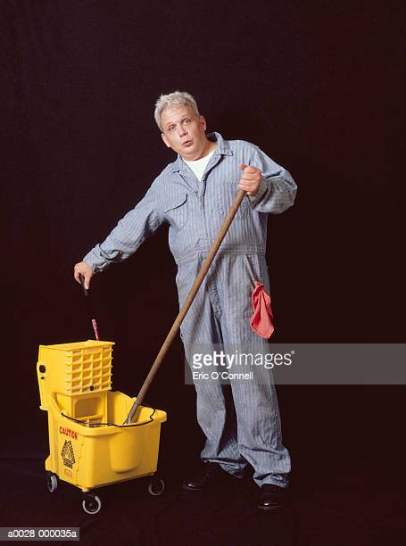 Janitor with Mop and Bucket