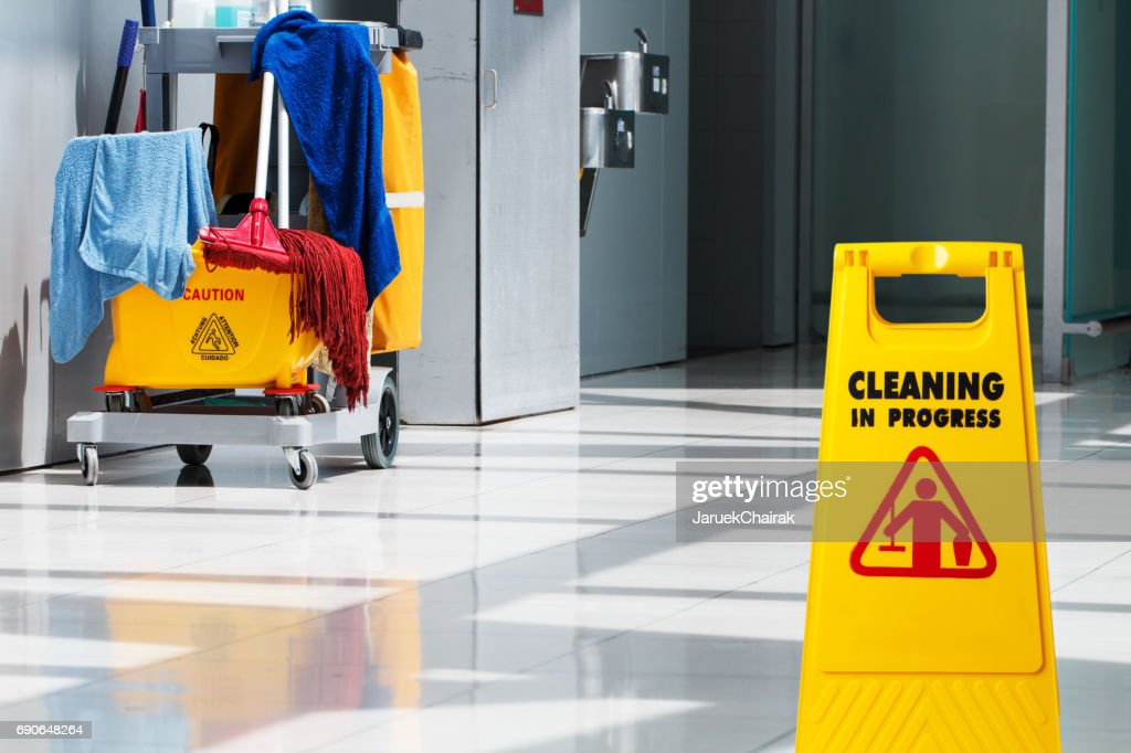 Janitorial and mop bucket on cleaning : Stock Photo