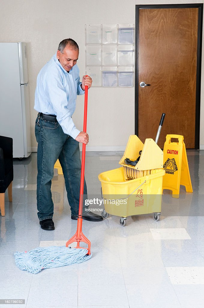 Janitorial Service - Maintenance Man Cleaning Office Floor : Stock Photo