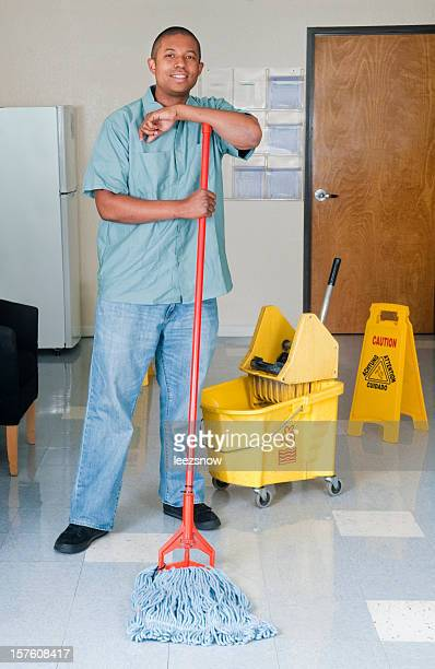 Janitorial Services Maintenance Man Cleaning Office Floor